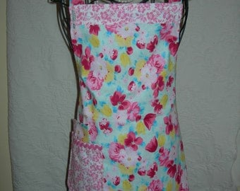 Reversible Apron in Cottage Chic Pink Florals. A Crisp Cool feel for those favortie recipes ....