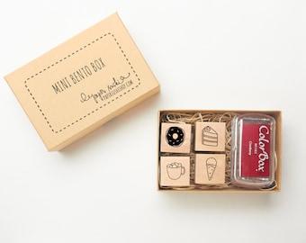 Sweet Treat Mini Stamp Set - hand drawn set of mini dessert stamps - Paper Sushi Bento Box - donut - cake - ice cream - hot chocolate -F0012