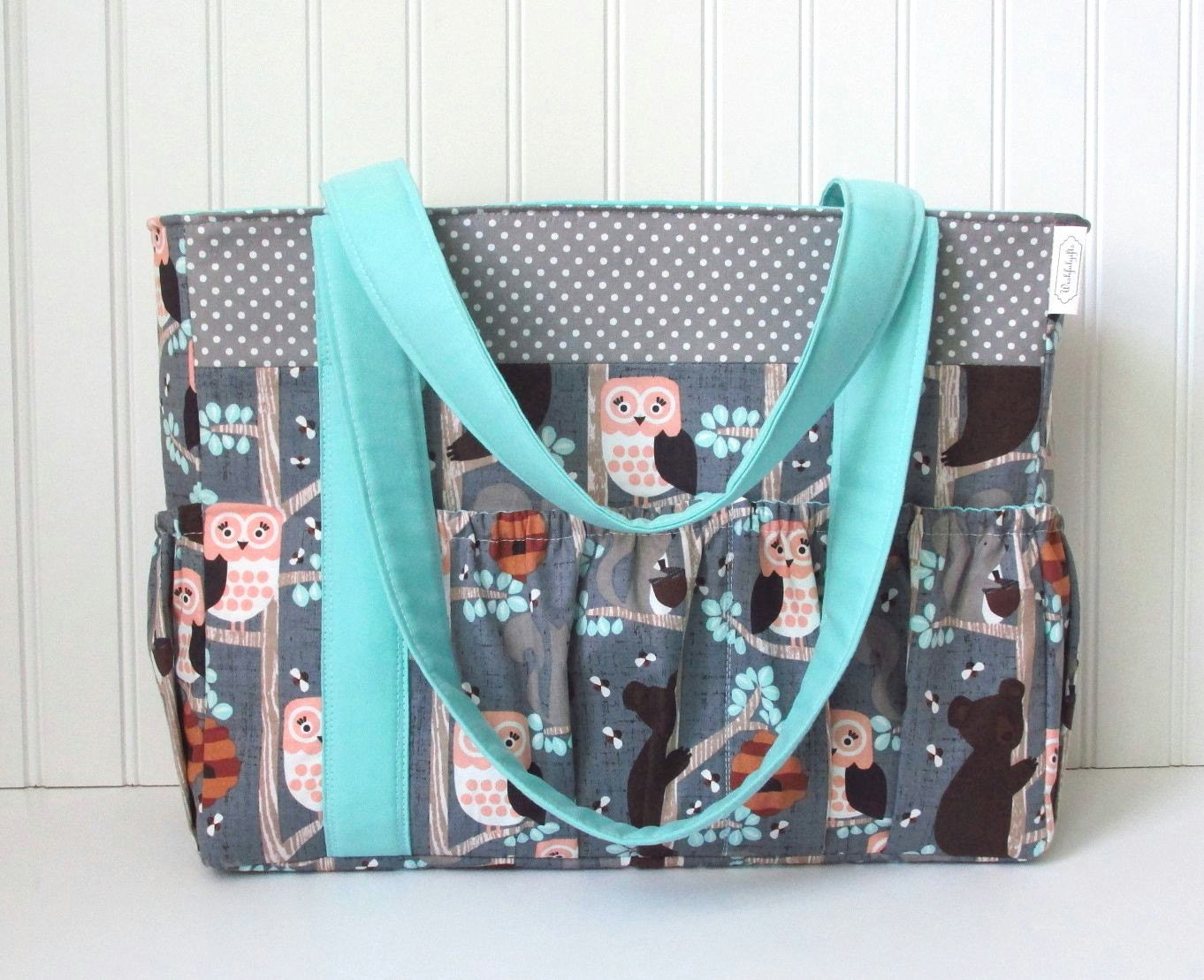 aqua and gray diaper bag for boy or girl owl by wishfulgifts. Black Bedroom Furniture Sets. Home Design Ideas