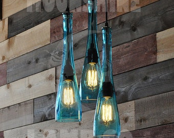 The Tear Drop - recycled bottle lamp chandelier