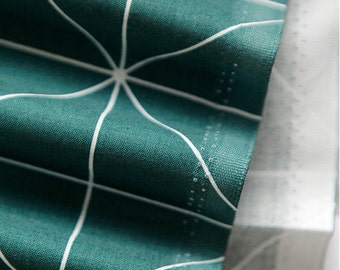 White Lines on Green Cotton Fabric - Geometric - By the Yard 69056