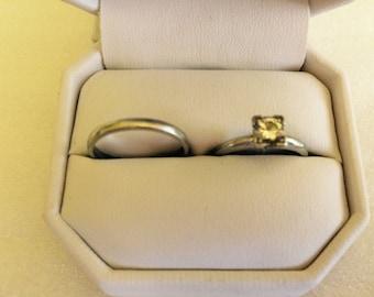 Antique 1940s Platinum Diamond Solitaire & Wedding Band Set