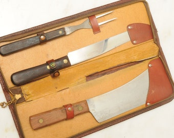 Super Edge BBQ Set Leather Case Made in USA