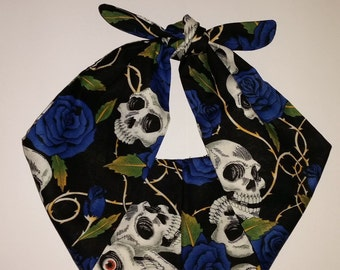 skull and blue rose bandana, rockabilly pin up psychobilly tattoo hairband headband
