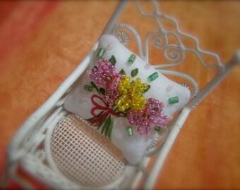 Bunch of Flowers Miniature Dollhouse Pillow