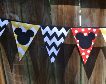 Mickey or Minnie 8 foot Fabric Pennant Banner