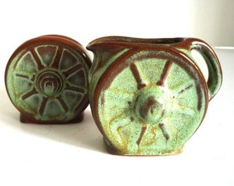 Vintage Frankoma Pottery - Prairie Green Cream and Sugar - Frankoma Wagon Wheel