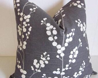 Richloom Evelynne Pillow Cover- Gray Pillow Cover-Grey Pillow Cover-Floral Pillow Cover-Designer Pillows-Decorative Pillows-Modern Pillows