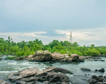 SALE James River Rock View Photo Richmond Va , Virginia River Landscape Photo Art, Framed Photography Option
