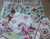 Lot of 3 Old Card Tablecloths and Napkin Set As IS