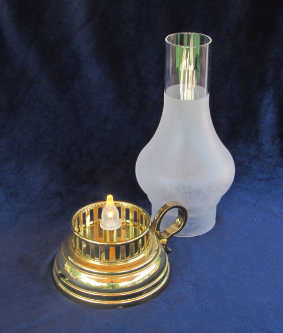 faux oil lamp brass base with frosted glass chimney. Black Bedroom Furniture Sets. Home Design Ideas
