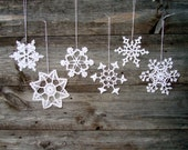 Crochet snowflakes, SET OF 6, Christmas snowflake ornaments, handmade white lace snowflakes in different design, Christmas tree ornament