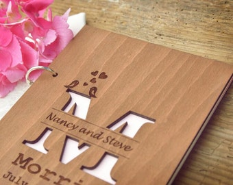 Rustic Guestbook , Wooden Wedding Guest Book, Rustic Monogram Guestbook, Laser Engraved Guestbook