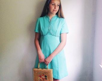 Vintage Fit & Flare Aqua Blue Scooter Dress  / Flower Lined Mini Dress / Retro Dress / Mod Dress  - 1960s