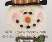 Christmas in July SALE Snowman on Vintage Textile Bobbin, OOAK Snowman