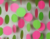 Pink & Lime Green Paper Garland, Pink and Green Birthday Decoration, Girl's Party Decor, Pink Baby Shower Decoration, 10 ft. long