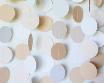 Blush Wedding Decor, Neutral Wedding Garland; Beige, Blush, White Wedding Decoration; Gender Neutral Blush Baby Shower Decor, 10 ft. strand