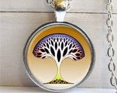 Whimsical Tree Art Pendant , Silver And Glass Necklace, Tree Pendant