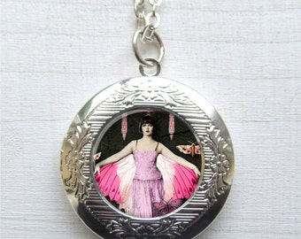 Locket, Art Deco Fairy, Photo Locket, Locket Necklace, Fairy Jewelry