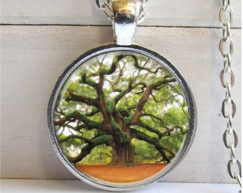 Tree Of Life Pendant, Photo Pendant, Tree Necklace, Silver And Glass Charm Necklace