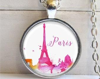 Paris Necklace, Paris Skyline, Paris Pendant, Eiffel Tower Necklace, Art Pendant