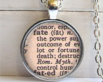Art Pendant, Fate, Vintage Dictionary Definition, Fate Necklace