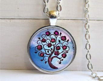 Tree Pendant, Whimsical Tree Necklace, Art Pendant, Tree Jewelry