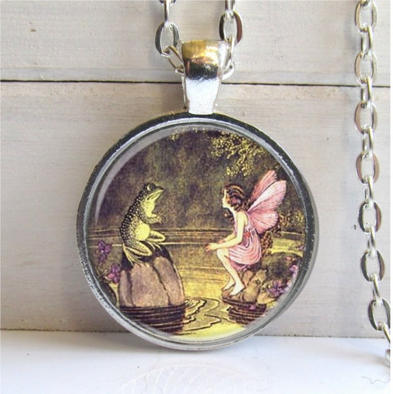 Fairy Pendant, Frog And Fairy Necklace, Fairy Jewelry, Whimsical Jewelry, Art Pendant