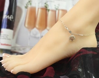 Sterling Silver Anklet - Tree of Life Anklet - Small Long Box Chain Anklet with Tree of Life Charm