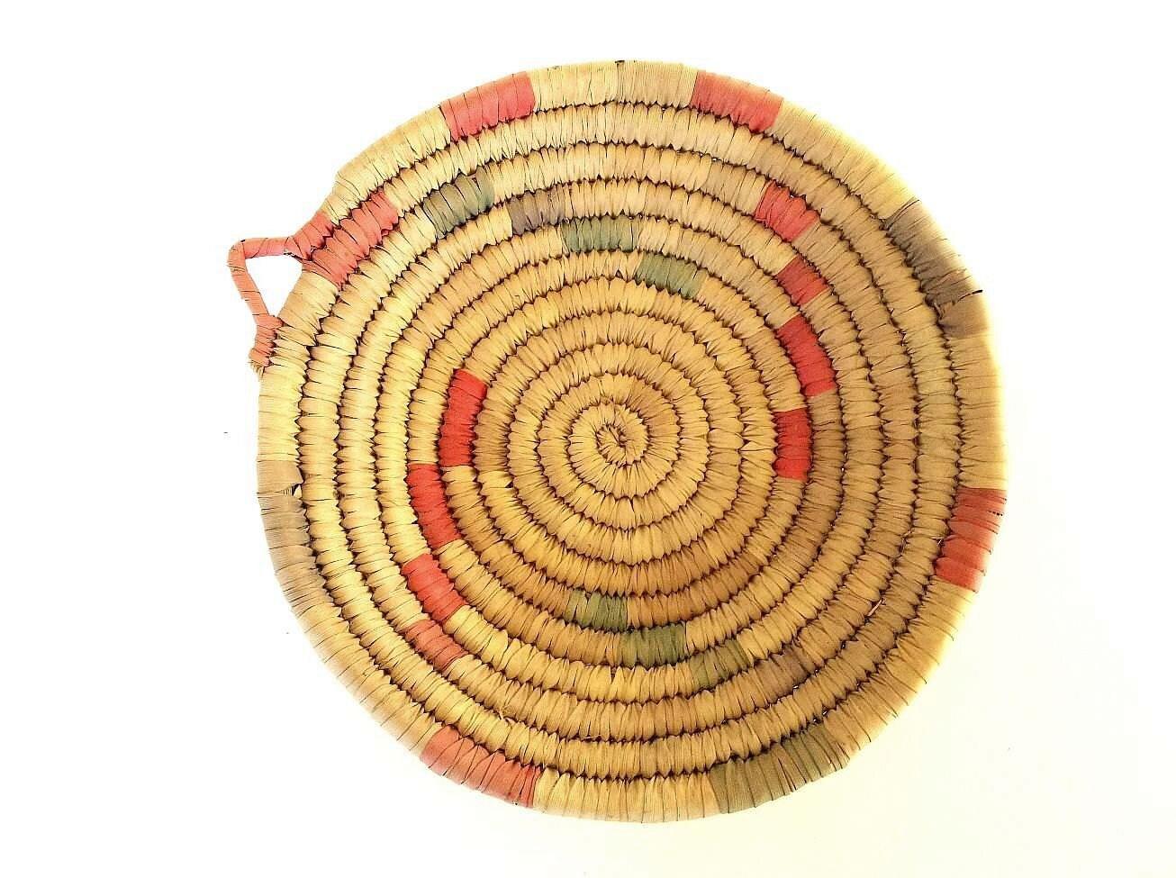 Handmade American Baskets : Vintage native american coiled basket handmade bowl