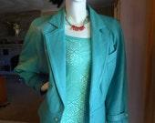 vintage 80's Womens Danier Turquoise leather Bolero jacket Sz S