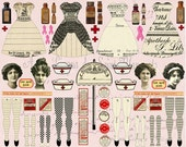 4 Vintage NURSES/ Get Well PAPER DOLLS - Instant Printable Digital Sheet