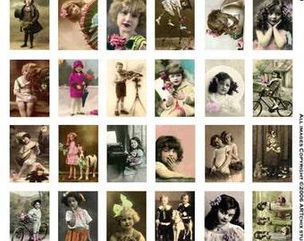36 VINTAGE CHILDREN - Cute & Playful -  Instant Printable Digital Collage Sheet