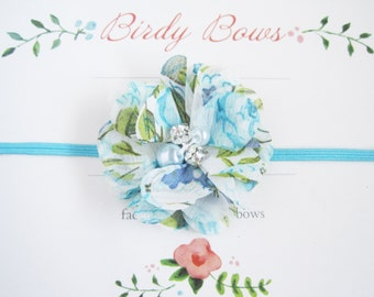 Aqua Floral Baby Headband, Baby Headbands, Newborn Headbands, Baby Girl Headbands, Infant Headbands, Baby Bows