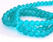 1 of 31 inch strand 8mm glass blue frosted glass beads-over 100 beads-10015