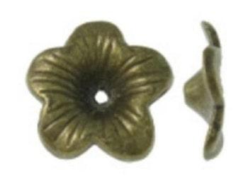 12pc antique bronze finish 18mm metal bead caps-8022