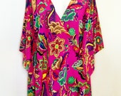 Hot Pink Floral Pure Silk Crepe De Chine Crossover Wrap Short Dress or Long Kaftan Top by Molly Kaftans
