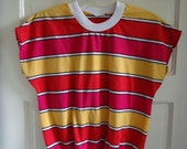 Vintage 80s Striped Knit Top Womens sz S/M