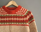 Hand Knitted Wool Fair Isle Nordic Sweater Small