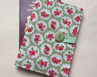 Passport cover case vintage green rose style cath kidston syle fabric travel wallet