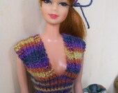 Barbie clothes - stripy dress in purple, orange, blue and yellow
