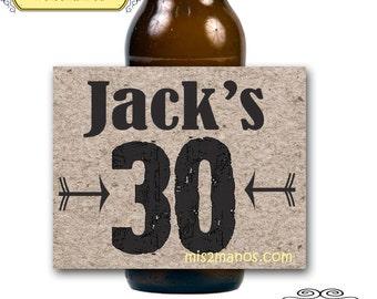 Birthday Celebration: Custom Beer,  Beer Bottle Labels 30, 40, 50th Birthday. 4 labels Set of 4 Beer Labels, DIY Print At Home