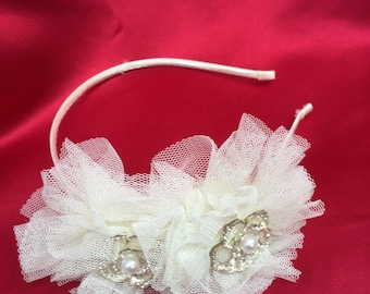 Blingy tuille rosette hairband