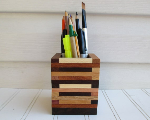 Pencil Holder Desk Organizer Wood Box Paint Brush By