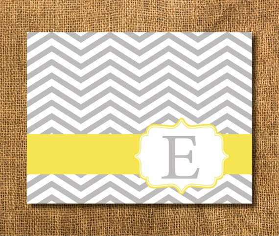 Gray and Yellow Chevron Thank You Cards , Monogrammed Chevron Stationary, Chevron Notecards, Personalized Stationary