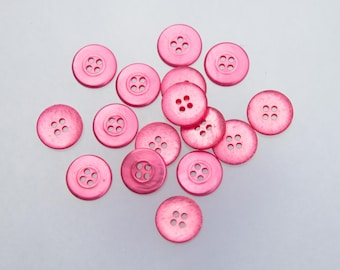 """40 Vintage 11/16"""" Plastic Buttons. Beautiful Pearlized Rose Pink. 4 Holes. Sewing, Crafts, Applique, Art, Craft Buttons. Item 1513P"""
