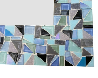Decorative Wall Mirror, Mosaic Mirror, Colorful Home Decor, Handmade Mirror, Blue Green Gray Aqua Black