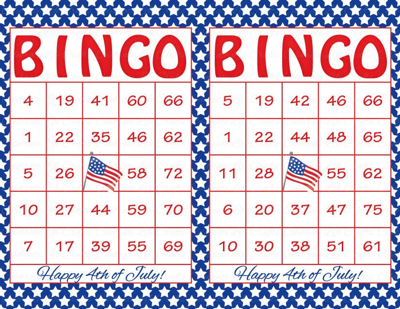 60 4th of July Printable Bingo Cards Patriotic Theme Stars