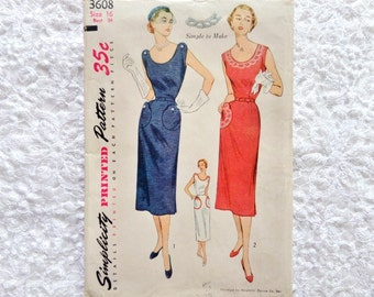 Vintage Simplicity Dress Pattern 3608 Size 16 Dress With Transfer 1951