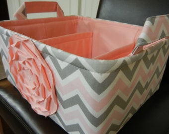 """LG Diaper Caddy(choose COLORS) 12""""x10""""x6""""Two Dividers-Fabric Storage Organizer-Baby Gift-Chevron-""""Pastel Pink Rose on Grey&Pink Mix Zigzag"""""""